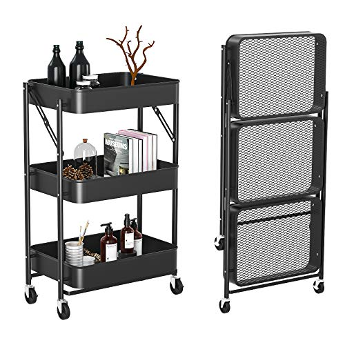 Witacles 3 Tier Rolling Utility Cart - No Need to Install - Folding Mobile Storage Organizer - 100% Carbon Metal Design- Locking Casters/Wheels with 4 Hooks - for Kitchen, Bathroom, Office (Black)