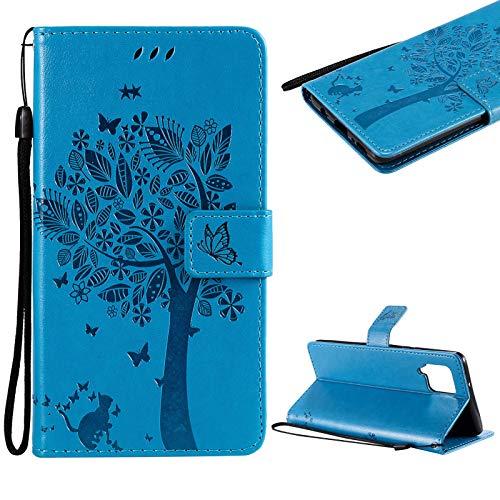 Cestor Handyhülle für Samsung Galaxy A42 5G,Niedlich Katze Baum Schmetterling Muster Stoßfest Brieftasche Klapphülle Weich Silikon Ständer Lederhülle mit Kartenfächer,Blau