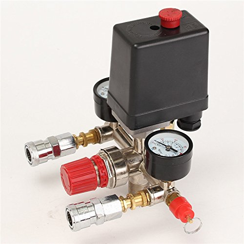 Bluedophin Air Compressor Pressure Control Switch Valve Manifold Regulator W/Gauges Relief Auto Control Auto load/unload
