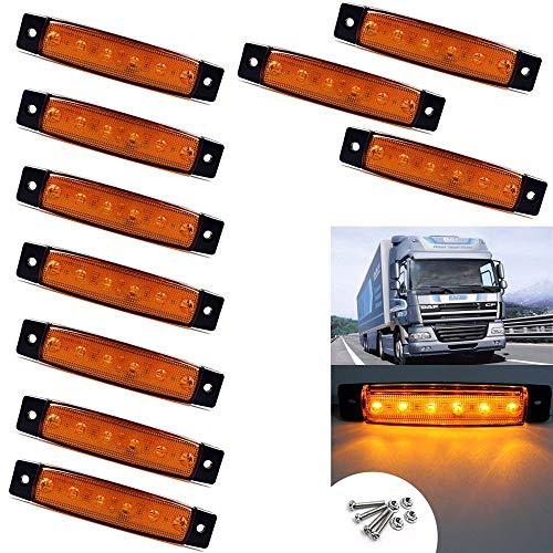 VIGORFLYRUN PARTS LTD 10x 6 LED 3.8' Luces Laterales del Marcador Luz de Gálibo para 12V Remolque Camioneta Caravana Camión Camión Autobús SUV - Amarillo