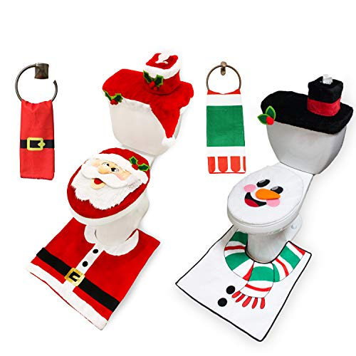 Christmas Clearance – JOYIN 5 Pieces Christmas Reindeer Theme Bathroom Decoration Set w/Toilet Seat Cover, Rugs, Tank Cover, Toilet Paper Box Cover and Santa Towel for Xmas Indoor Décor, Party Favors.