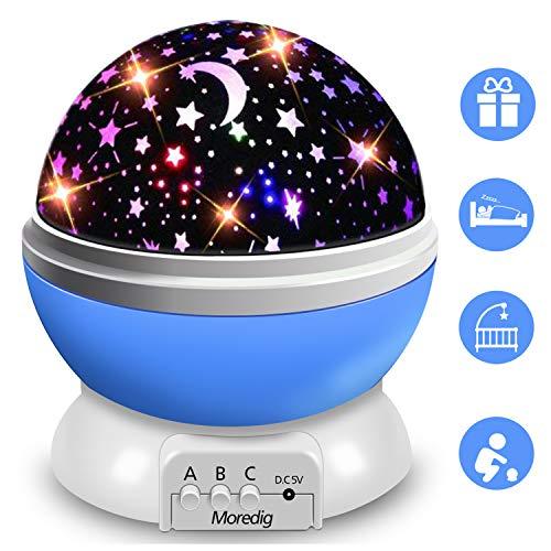 Moredig Lampara Proyector Infantil, Proyector de Estrellas Luz Nocturna Infantil con 360° Rotación y 8 Modos Iluminación, Luz Noche para Habitación Bebé, Día de los Reyes, Navidad, Halloween(Azul)