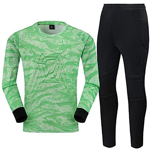 OTGRFS Divisa da Portiere di Calcio, Tuta da Portiere, Pantaloni a Maniche Lunghe,Green1,XL