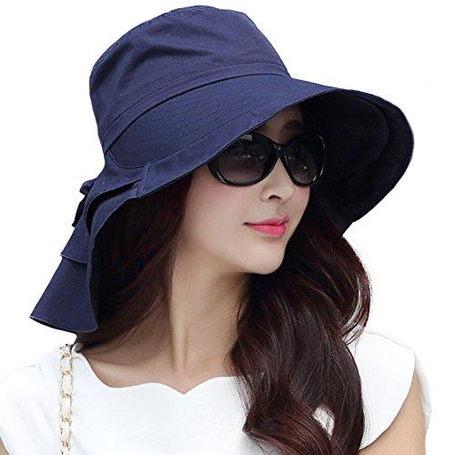 SIGGI Damen Faltbarer Sonnenhut mit Kinnband Outdoor UPF 50 + breite Krempe Schwarzblau