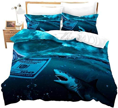 Anvvsovs Photographic Print Duvet Quilt Cover Bedding Set Pillowcases 3D Single Size 135 X 200 Cm 2 Piece Pillow Cover And 1 Piece Badding - Creative Blue Marine Life Shark Pattern