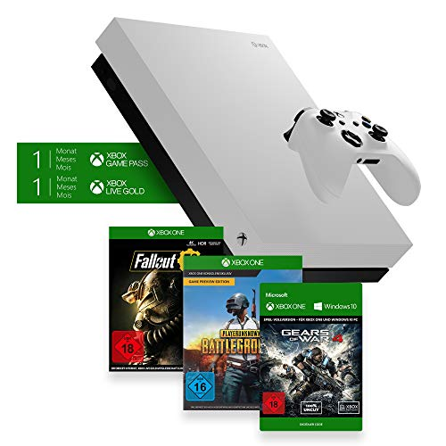 Xbox One X 1TB, weiß - Fallout 76 Bundle + Playerunkown's Battlegrounds (PUBG), Game Preview Edition + Gears of War 4 Download Code