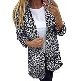 Traje de chaqueta de moda, chaqueta de punto de oficina de trabajo de manga larga con estampado de leopardo