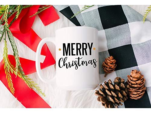 Taza de Navidad con texto en inglés 'Merry Christmas', regalo de Navidad, para amantes del café, invierno, vacaciones, Navidad, 325 ml