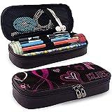 Astuccio per penne in pelle Astuccio per penne per cancro al seno con nastro rosa Porta penne per cancelleria per ufficio con cerniera resistente