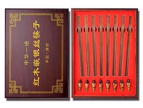 Palillos de madera natural reutilizables, palillos de plata con incrustaciones de caoba, utensilios de cocina y comedor chinos tradicionales, ocho pares de juegos de regalo, con palillos de 24,5 cm.
