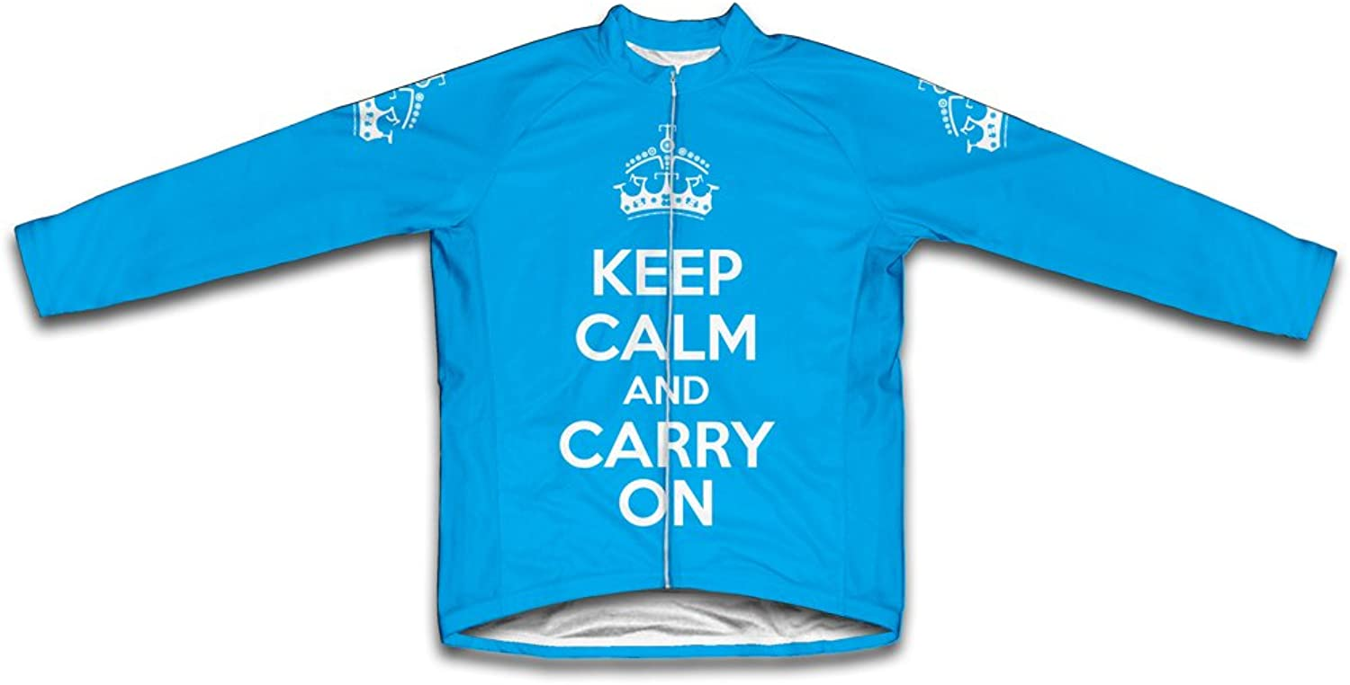 Keep Calm and Carry On Long Sleeve Cycling Jersey for Women Light blueee Size XS