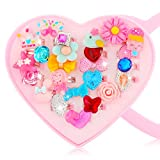 Hifot 24 pcs Girls Crystal Adjustable Rings, Princess Jewelry Finger Rings with Heart Shape Box, Girl Pretend Play and Dress up Rings for Children Kids Little Girls
