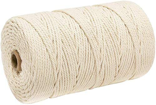 Ialwiyo 3mm 328ft Macrame Cotton Cord Not Dyed Natural Color Handmade Soft 4 Strand Cotton Cord product image