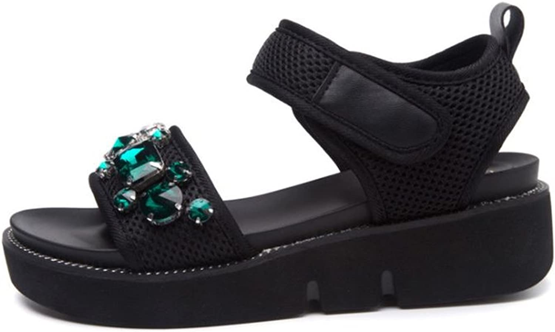 Girls Ladies Wedge Platform Rhinestone Slide Sandals for Women Gemstones Slip on Dressy Sandals Walking Sandals