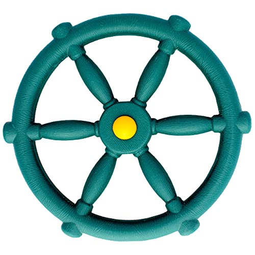 Jungle Gym Kingdom Playground Accessories - Pirate Ship Wheel for Kids Outdoor Playhouse, Treehouse, Backyard Playset Or Swingset - Wooden Attachments Parts (Green)
