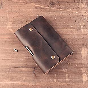 Handmade leather goods leather Traveler notebook A6 (18.5cm x 13cm) Penholder buggy bag Retro Gift (Brown)