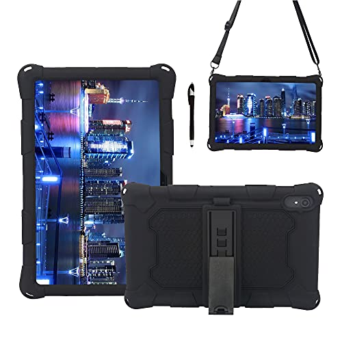 YANCAI Funda Protectora Tablet Funda para Samsung Galaxy Tab S7 + T970, Cubierta Protectora a Prueba de Golpes de Silicona Suave y Ligera con Correa de asador y Hombro (Color : Black)
