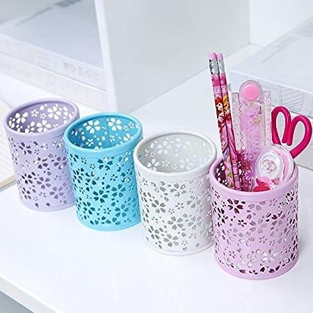 1 pezzo porta penne e portapenne Treestar rotondo vaso in metallo decorativo da giardino da scrivania Portamatite multifunzione a forma di rosa