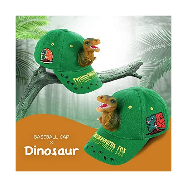 Boy's Sun Hats 3D T-rex Dinosaur Baseball Caps Cotton Funny Snapback Birthday Crazy Hats for Boys Kids Green