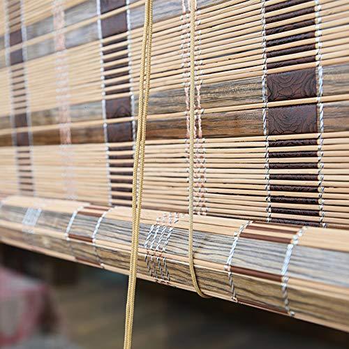 QL Persianas enrollables de bambú Persianas para Ventanas Persianas Cortinas de privacidad con Accesorios de instalación Impermeable Anti-Moho para Interiores y Exteriores