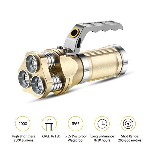 GuDoQi Linterna Recargable del LED 3 CREE T6 LED 2000 Lúmenes IP65 Impermeable Proyector Handheld para…