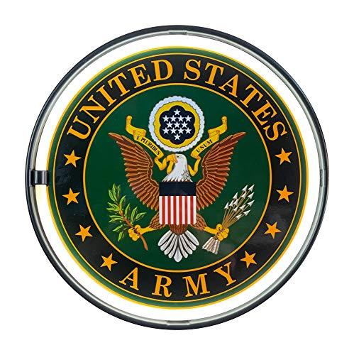 """United States Army LED Light Rope Sign, White LED Light Rope with Neon Effect Outlines Sign, 12"""" Bottle Cap Shaped Plug-in or Battery Powered Wall Decor for Home, Bar, Garage, Shop, or Man Cave"""