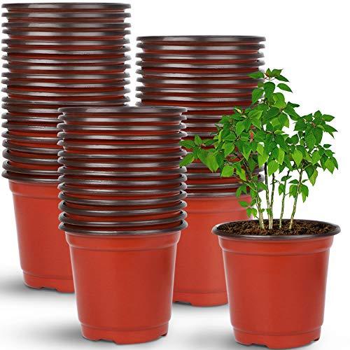 Augshy 110 Pcs 4 Plastic Plants Nursery Pot,Seed Starting Pots