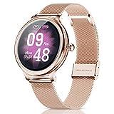 CatShin Relojes Inteligentes Mujer,smartwatch Mujer Android,Impermeable IP68 Monitor de Sueño y podómetro Pulsómetro,Notificaciones Inteligentes,Reloj Deportivo Mujer para Samsung Huawei Xiaomi y iOS