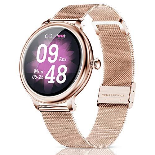 CatShin Relojes Inteligentes Mujer, smartwatch Mujer Android, Impermeable IP68 Monitor de Sueño y podómetro Pulsómetro, Notificaciones Inteligentes, Reloj Deportivo Mujer para Samsung Huawei Xiaomi y iOS