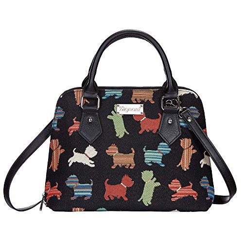 Signare Tapestry Arazzo Top Handle borsa borse donna, borsa donna tracolla con Disegni di Cani (Cucciolo giocoso)