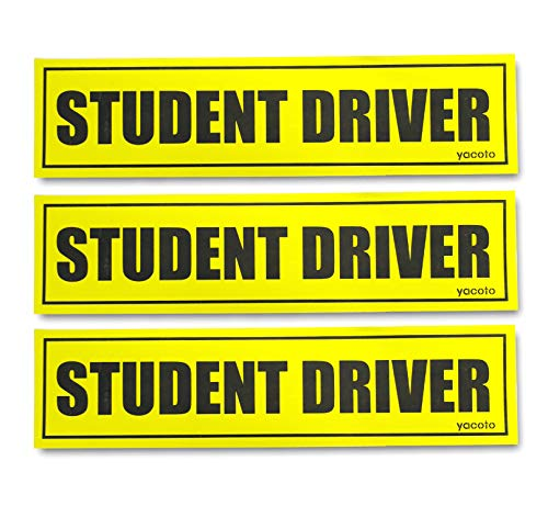 Set of 3 Student Driver Magnet - Reflective Student Driver Sign for Car Student Driver Car Magnet Safety Vehicle Bumper Sticker for New Drivers
