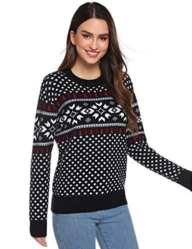 Abollria Damen Weihnachtspullover Rundhals Pullover Weihnachten Pulli mit Schneeflocken Muster Winter Strickpullover mit Weihnachtsbaum Ugly Christmas Sweater für Party, Schwarz, S