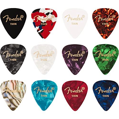 Fender 351 0980300100 Medley Picks T - Pastillas de celuloide (12 unidades)