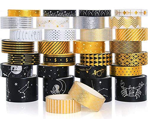 Juego de 30 rollos de cinta Washi decorativa para revistas de balas, suministros de álbumes de recortes, manualidades, diseño universal, 8 mm/15 mm/30 mm