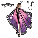Butterfly Wing Cape Shawl with Lace Mask and Black Velvet Antenna Headband Adult Women Halloween Costume Accessory (Purple)