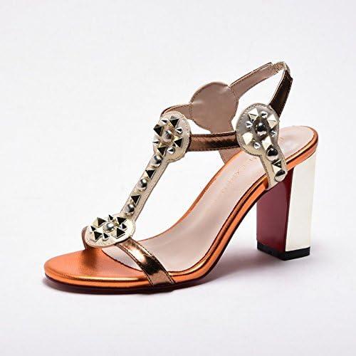 RUGAI-UE La Mode des des Femmes d'été Confortables Sandales à Talons Hauts, Talons de 8 cm Beige 38  est réduit