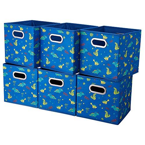 6 Cube Storage Bins Blue 10.5x10.5x11 Inch Foldable Dinosaur Coastal Print Fabric Half Storage Basketes for Home Organizers Storage Drawer,QY-SC13-6