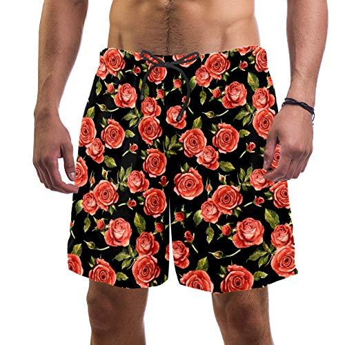 Lorvies - Bañador para hombre con flores de rosa salvaje, secado ráp