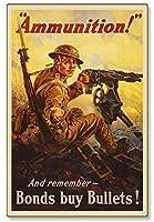 ノベルティサインギフト、米国戦争債券弾薬第一次世界大戦-コーヒーオフィスプールヤード公衆トイレ駐車場の家の壁の装飾、ビンテージアートポスター、家の壁の装飾のための装飾
