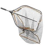 Savage Gear Tele Folding Rubbermesh XL 70x85cm Hechtkescher, Angelkescher zum Hechtangeln, Bootskescher, Kescher zum Spinnfischen, gummiertes Keschernetz