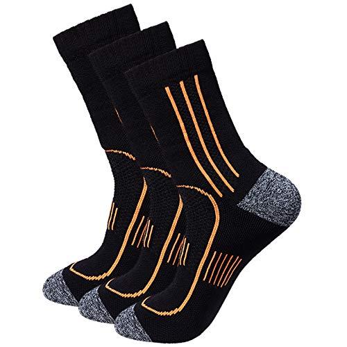 Men's 3-Pack Black Cushioned Anti Odor Blister Resit Crew Compression Hiking Trekking Mountaineering Socks