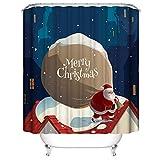 Litthing Cortina de Ducha Accesorios de Navidad Baño Patrón Múltiple Navidad Impermeable Antimoho Poliéster Decoración Hogar (Paquete de Navidad, 180_x_200_cm)