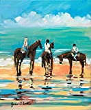 Posterazzi Collection Horses on The Beach Poster Print by Jane Slivka (12 x 12)