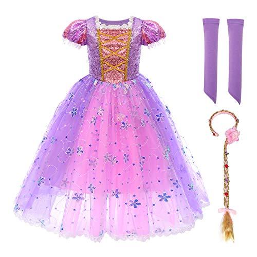 FYMNSI Rapunzel Kostüm Kinder Mädchen Sofia Prinzessin Cosplay Pailletten Maxikleid mit Handschuhe Perücke für Karneval Fasching Halloween Weihnachten Geburtstag Party Ankleiden Lila 5-6 Jahre