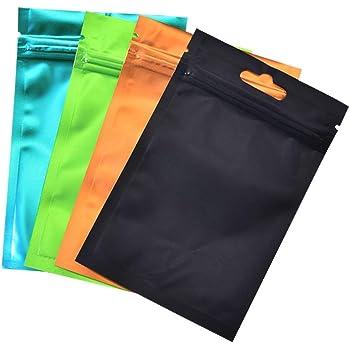 50 Pezzi Sacchetti di Alluminio Nero Opaco Prova di Odore Nero, 7x10 cm Bustine Mylar Richiudibili con Zip Buste Plastica a Chiusura con Etichette per Alimenti