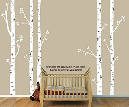 Giant White Birch Tree Decal with 5 Birch Trees