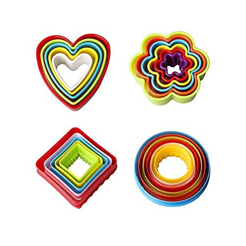 Set di formine per biscotti, BPA-Free plastificata in plastica tagliabiscotti, torta al cioccolato fondente, formine per biscotti (fiori, tondi, quadrati, forme di cuore) Set di 22