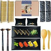 寿司を作るキットの寿司は2つの竹の圧延マット、2つの寿司プレート、2つのソース料理、2組のお箸、2つの箸ホルダー、2つの食器袋、1パドルと1スプレッダーの2つの箸(14パック)