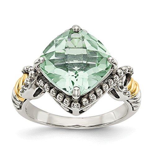 DIAMOND2DEAL INC Anillo de Compromiso de Plata de Ley 925 y Oro de 14 Quilates, Cuarzo Verde, tamaño 6 (4 CT)