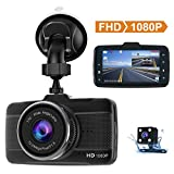 Claoner Dash Cams for Cars Front and Rear 1080P Full HD Dashcam Car